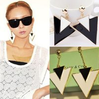 Wholesale 1Pair Hot Korean Fashion Exaggerated Charming Large Triangle With Chain Earrings Anne
