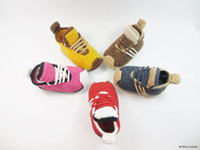 Wholesale Knitted cotton yarn toddler shoes fall baby shoes booties Crochet kids sneaker hand made boys walking Casual shoes pairs