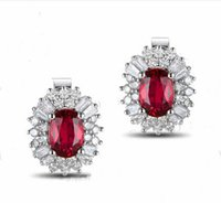 Wholesale KT White Gold ct Natural Red Blue Ruby ct Full Cut Diamond Engagement Gemstone Earrings Jewelry