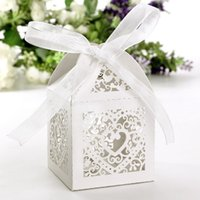 Wholesale 50pcs Hollow Love Heart Laser Cut Paper Candy Gift Chocolate Sweet Boxes with Ribbon Wedding Party Shower Christmas Favors