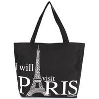 handbags paris - 2015Large Space Women Canvas Handbag Zipper Shopping Shoulder Bag Paris Eiffel Tower Pattern Girls Beach Bookbag Casual Tote Fashion