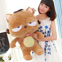 Comercio al por mayor de gran regalo de cumpleaños de la muñeca surcoreana Lanmao DINGA gato grande cara de muñeca juguetes de peluche cama presión de la boda