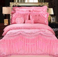 Wholesale Bedding Set Cotton Satin Drill Pink Jacquard Quilt Covers Home Wedding Luxury Comfortable Home Textile Duvet Cover Set for sale