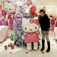 Wholesale 116 cm large size Hello Kitty Cat foil balloons cartoon birthday decoration wedding party inflatable air balloons flying toys
