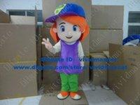 Wholesale Cool Debby Maiden Virgin Little Girl Lassock Young Girl Maid Mascot Costume Cartoon Blue Clear Eyes Purple Dress No FS