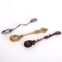 Wholesale Charm vintage Retro Coffee tea Stirring Spoon MINI Shell metal Design Ice Cream Spoon Fashion Dinnerware