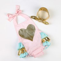 baby girl photo prop - 2016 Valentine s Day baby girls fashion gold heart bubble ruffle rompers headband set toddler photo prop bodysuit