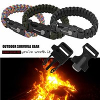 Wholesale Outdoor Camping Survival Bracelet Kits Cord Wristbands Emergency Rope Gear Whistle Flint Fire Starter JSSL