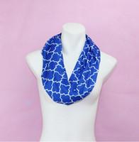 Wholesale Royal Blue Diamond Quatrefoil Printed Women Scarf Jersey Quatrefoil Scarf Gift For Adult China Factory