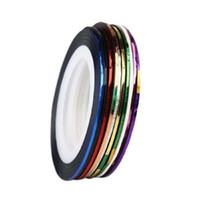al por mayor decoración de la etiqueta engomada de gel-Fantástico 10 Roll Mezcla Metálico Nail Art Cinta Lace Line Striping Decoración Pegatina para UV Gel Polaco