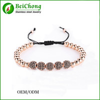 Wholesale BC Jewelry Anil Arjandas Fit Men K Gold mm Round Beads mm Micro Pave Black CZ Beads Briading l stainless steel bracelet B