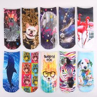 Wholesale 3D Printed Unisex Low printed ship socks Short Ankle Boat Low Cut Sport Socks For men woman new brand quality socks for christmas