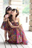 cotton - Parent Child Outfit Mother Daughter Cotton Bohemia Thin Condole Belt Beach Dress New fashion Family Dress Alikes