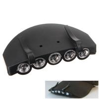 Wholesale 5pcs LED Cap Hat Light HeadLamp Headlight Camping Hunting Fishing Light Flashlight Binnel Online