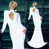Cheap Customized 2014 Corset Dress High Neck Pure white Maxi dresses Long Sleeves Evening dress Floor Lenght Designer Prom Gowns