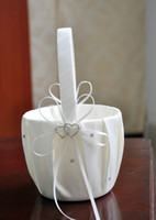 Wholesale 2016 New Fashion Ivory Satin Pearl Diamante Wedding Party Double Heart Flower Girl Basket Decoration