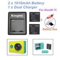 Wholesale 2016 New Arrival Real Standard Battery v a No Kingma Xiaomi Yi mah Xiaoyi Battery xiao Dual Charger for Action Camera Accessories
