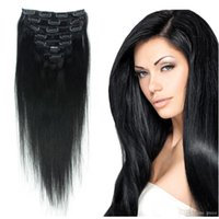 1 18 - Crazy Queen Jet Black gram Brazilian Peruvian Malaysian Indian Clip In Hair Extensions Straight Remy Human Hair