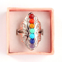 beautiful tension - Beautiful Natural Gem Set Beads Point Charms Adjustable Rings Lord Charms Accessories European Fashion Jewelry Reiki Amulet