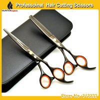 barber shop razors - Wholesales sets inch HUNTERrapoo Hairdressing Salons Shears Kit razor cutting scissors and thinning scissors for barber shop using