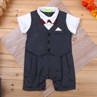 Wholesale Summer Baby Boys Onesies Romper Clothes Gentleman Kids Infant Bow Tie Striped Jumpsuits Newborn One piece Clothes Costume