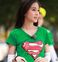 Wholesale Superman Gifts Shirts Logo Print Super Girl Raglan Short Sleeve T Shirt Black White Raglaned Women Loose Tshirt Tee S XXL Harjuku Mori