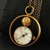 antique brass clock - Brass Vintage Antique Ball Style Glass Loop Pendant Mechanical Pocket Watch Bell Clock Men Lady Gifts