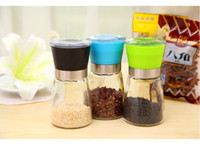 Wholesale 2016 Hot selling High Quality Glass Pepper set Salt Herb Spice Hand Grinder Mill manual pepper mill