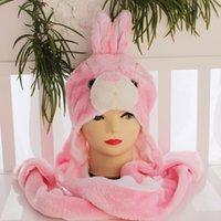 animal hats long cat - 50pcs Brand Fashion Pink Cat Plush Hat Scarf Glove Sets Long Children Cartoon Animal Fashion Winter Warm Hats Gift For Women