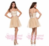 Cheap Sexy Sweetheart Champagne Homecoming Dresses 2015 Lace Beaded Little Short Organza Corset Custom Made Party Prom Dress P7974