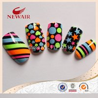 artistic nail designs - Brightly colored multi patterned five pointed star heart stripe design artistic pattern style printing nail art tips