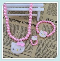 Cheap Fashion jewelry cute kitty cat jewelry sets children kid's necklace bracelet ring wholesale CS103