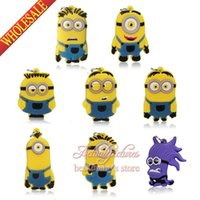 Wholesale New Novelty SET Best for Party Gifts PVC Keychains Charms Necklaces Pendants Despicable Me Minions cartoon Characters Figures Charms