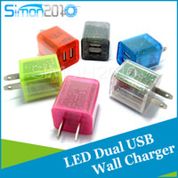 Wholesale Dual usb US EU Plug Transparent V A A Wall Charger Double USB LED Light Power Charging Adapter For iPhone Plus Samsung S6 HTC