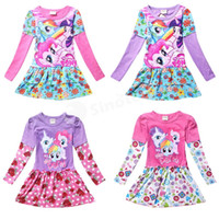 factory direct clothing - Children My Little Pony Long Sleeve Lace Dresses Spring Babies Clothes Princess Dress Tutu Girls Kids Clothing UPS Free Factory Direct