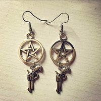 ancient alphabet - New shotgun earrings Star pistol Vintage Pendant Supernatural evil force ancient silver necklace shotgun bullet gun earrings