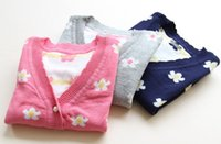 brocade - Girl Flower V Collar Long Sleeve Cardigan Korean Style Double Brocade Sweater Girls Clothes Children Cotton Knits Navy Pink Gray I2331