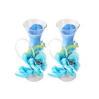 General Candle craft candle - 2pcs set Garden Glass Blue jelly crystal craft valentine s Day candle Candlelight wedding gifts candle Home decorative FEIS