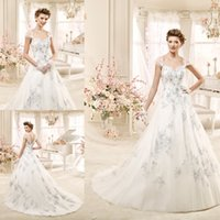 Wholesale 2015 Blue and White Wedding Dresses Elegant A Line Sweetheart Cap Sleeves Short Covered Buttons Back Beaded Lace Appliques Tulle Bridal Gown