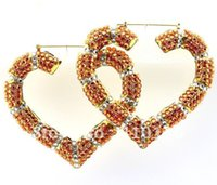 bamboo earrings - SER2036 Basketball Wives Earring Poparazzi Inspired Iced Out Bamboo Heart Hoop Earring Silver Plated Orange color