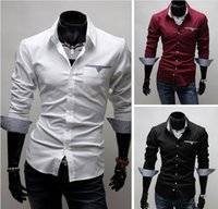 Cotton fine clothing - New Arrival Top Quality Brand Mens Imported Clothing mens Dress Shirts Men Fine grid patch long sleeved Shirts