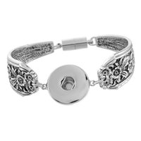 Wholesale SALE sterling silver Snap Bracelet Fit noosa Snap Button Carve Flower Magnetic Tube Bar Clasp Ginger Snaps Fashion jewelry