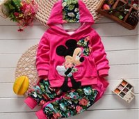 minnie mouse clothing - New spring autumn Girls Minnie Mouse Suit children s sports set baby girls boys clothing sets Hoodies coat trousers Kids clothes