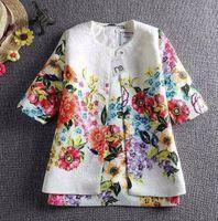 Wholesale 2015 Spring Mother Bear Jacquard Weave Flower Printed Children Girls Sets Sundress Long Sleeve Coat New Baby Kids Outfits L1645