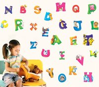 Wholesale A A Z Alphabet Animals Wall Sticker Decals Decor Nursery Kids Peel and Stick Gifts for children Nursery Store