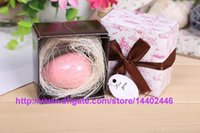 Wholesale DHL New Bird egg Shape Cute Fall In Love Birds Mini Scented Nest egg Soap Baby Wedding Shower Favor Gift