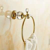 Wholesale Wall Mounted Brass amp Crystal Gold Towel Ring Towel Holder Towel Bar Bathroom Accessories