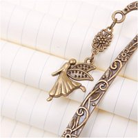 Wholesale Exquisite Retro Bronze Carved Hollow Flower Fly Vintage Angel Pendant Bookmark