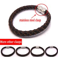 Wholesale Stainless Steel Bracelets NEW Fashion Leather Bracelet Brown Bracelets Bangles with Magnetic Clasp Rock Braclet