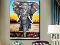 Modernos pinturas murales de las habitaciones Cama Resumen 100% pintados a mano lienzo elefante estirada pintura al óleo